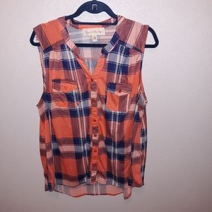 French Laundry plaid button-up tank size 3x